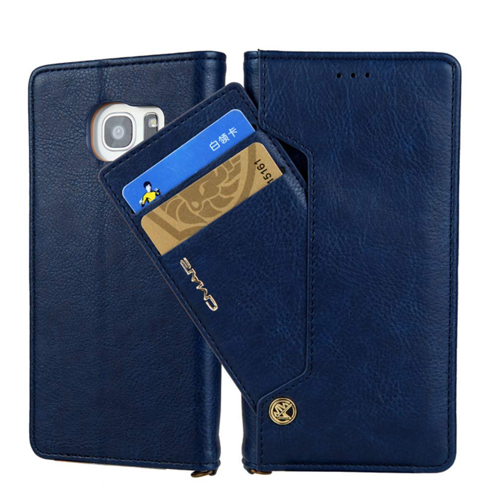 For Galaxy S8 Plus Wallet Case Card Holder,Folio Screen Protective Cover, Dual Layer Design, Vintage Fashion Flip PU Leather Shell for Samsung S8+ 6.2 inch Phone 2017 by elecfan (Blue)
