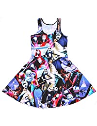 Lady Queen Girls Nightmare Before Christmas Print Scoop Skater Dress Party Skirt