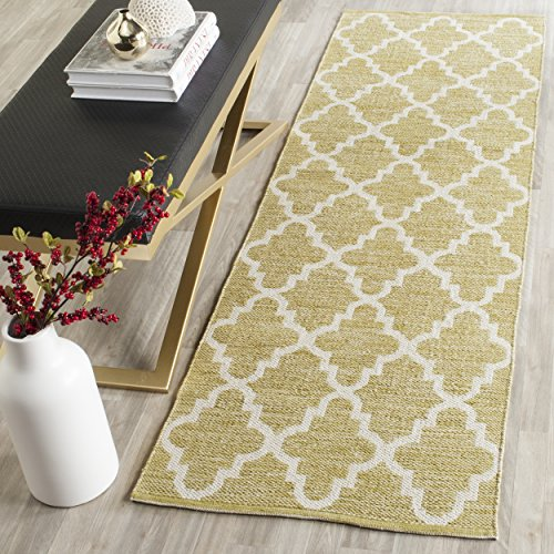 Safavieh Montauk Collection MTK810G Handmade Flatweave Green and Ivory Cotton Runner (2'3 x 7') Luxe Cotton Collection
