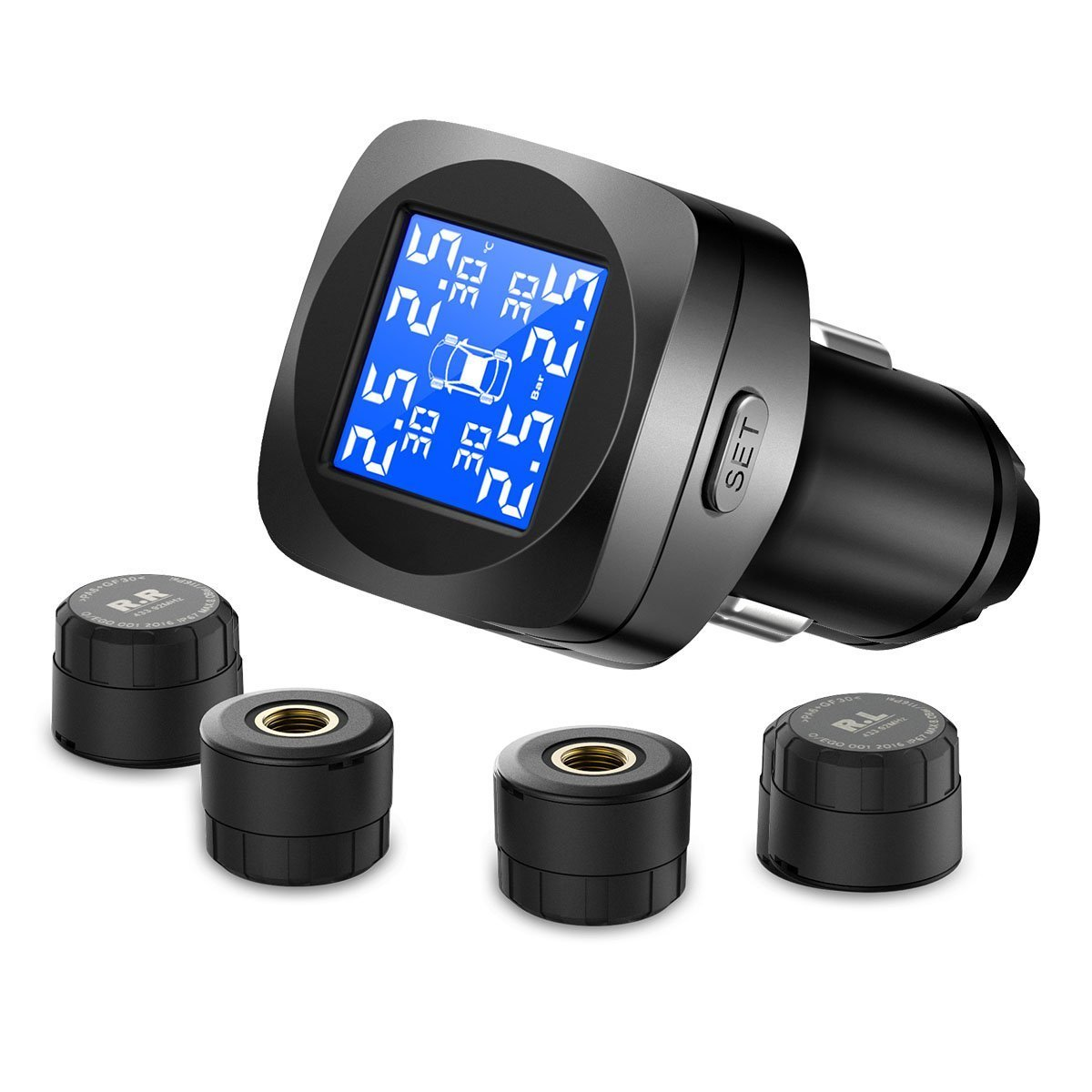 CHGeek Tire Pressure Monitoring System, Wireless TPMS with 4 External Sensors (Monitor 0-8.0 Bar/0-116 Psi, 65-85℃), 6 Alarms Real-time High Precision Monitor Temperature & Pressure