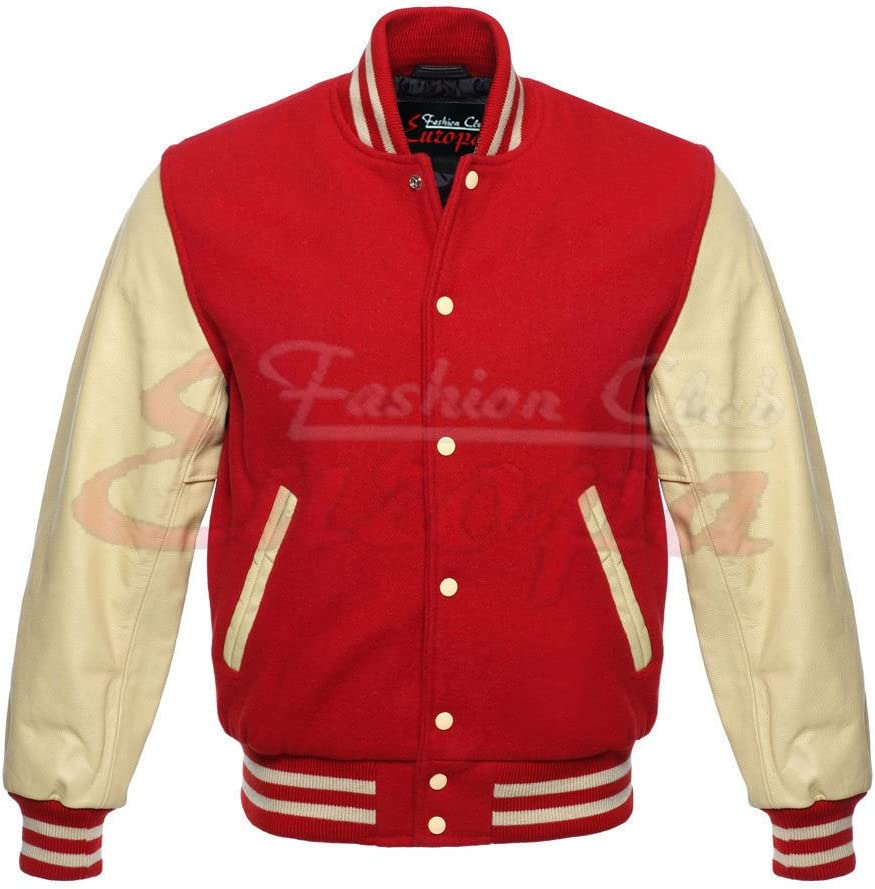 5XL Regular Fashion Club MENS VARSITY REAL LEATHER//WOOL LETTERMAN JACKET RED W//CREAM LEATHER SLEEVES