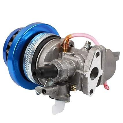 TOOGOO Carburador Carb Carby + Filtro De Aire Azul + Pila para 2 Emlobadas 47Cc 49Cc Piezas del Motor Mini Moto Ni?os ATV Quad Dirt Bici De Bolsillo ...