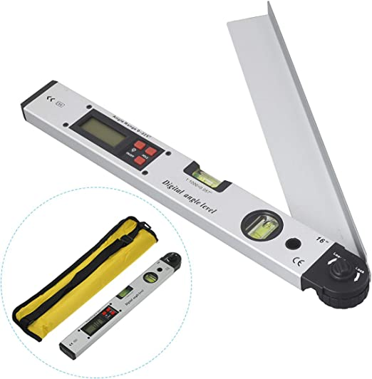 "0-225° Electronic Digital LCD Angle Finder 16/"" Stainless Steel Protractor Ruler"