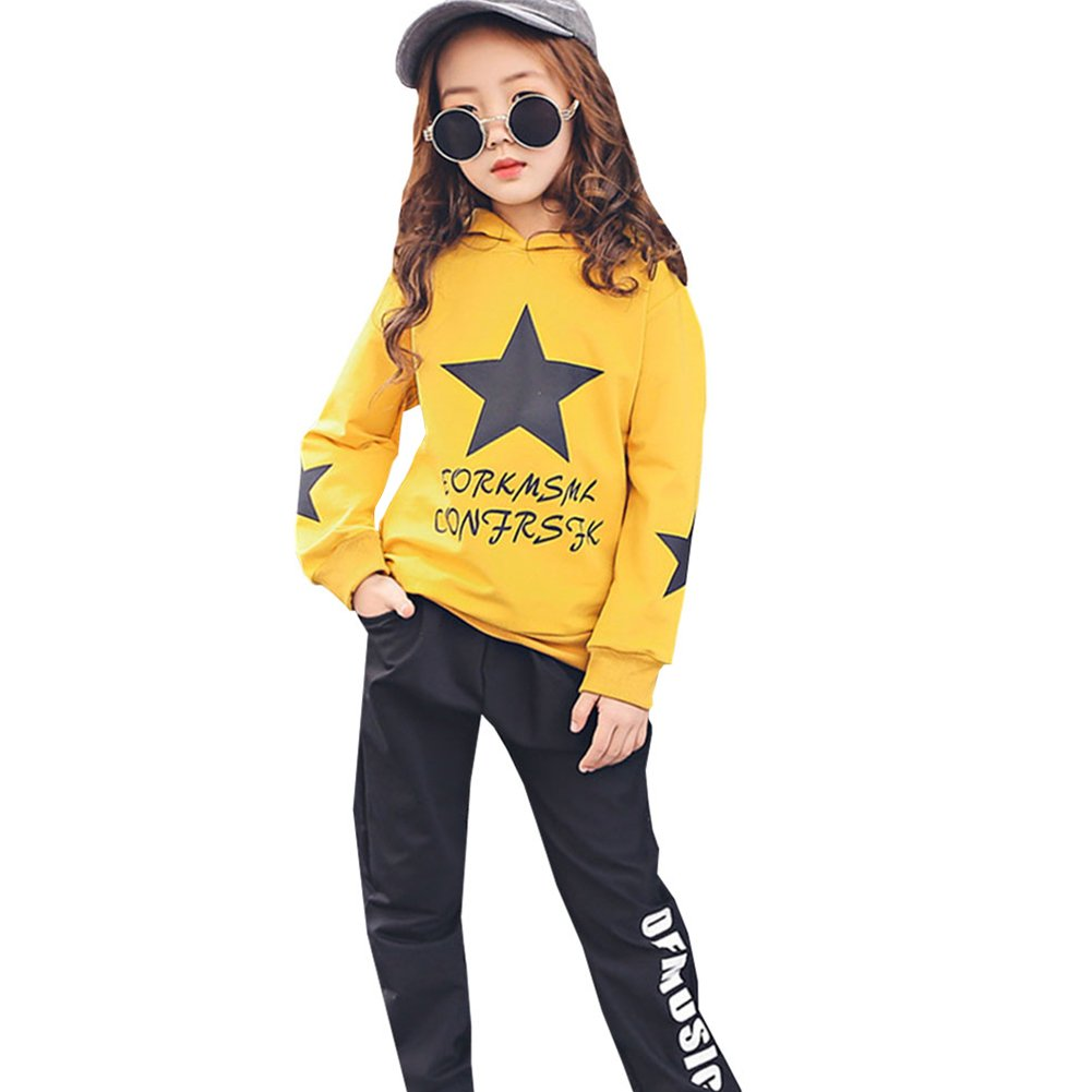 M&A Girls Autumn Casual Hoodie + Pant Set 2 Piece Tracksuit for 5-13T