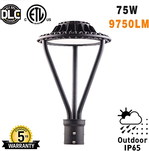 LED Garden Street Post Top Light 75W Lamps Fixture 5000K 9000 Lumen 100-277 V Daylight Pathway Pole Lighting in Garden,Yard and More