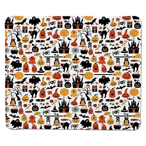 Mouse Pad Unique Custom Printed Mousepad [ Halloween,Halloween Icons Collection Candies Owls Castles Ghosts October 31 Theme Decorative,Orange Yellow Black ] Stitched Edge Non Slip Rubber -