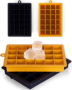 Ice Cube Trays, 2 Pack Small Silicone Ice Cube Molds, BPA Free, Super Easy-Release 48-Ice Trays, for Whiskey, Cocktail, Freeze Food, Stackable Flexible Safe Ice Cube Trays (Black & Yellow)