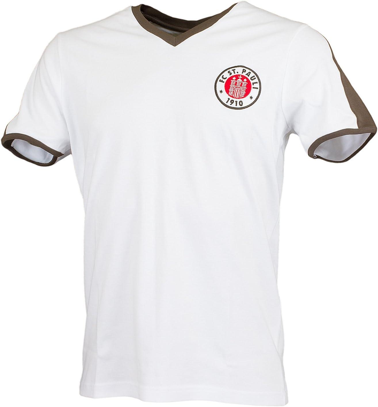 FC St. Pauli Retro Camiseta 1985, Blanco/marrón: Amazon.es ...