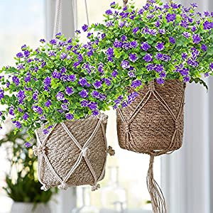 YISNUO Artificial Flowers, Fake Outdoor UV Resistant Plants Faux Plastic Greenery Shrubs Indoor Outside Hanging Planter Home Kitchen Office Wedding, Garden Decor(Purple) 3