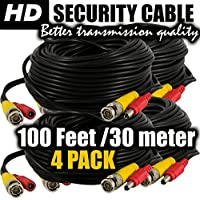 BNC cable 100ft camera power cord and video extension ventech cctv supply security wire ( 4 pack ) bnc-bnc connector 100 feet surveillance support all: Analog, hd, AHD, 720p, 960p, 960h, cvi, tvi