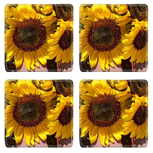 MSD Square Coasters Non-Slip Natural Rubber Desk Coasters design 32455048 Beautiful sunflowers on wooden bench outdoors