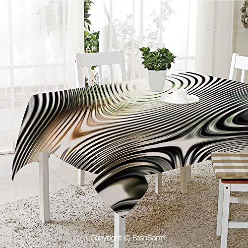 Premium Waterproof Table Cover Geometrical Modern Zebra Like Pattern with Circled Details Artwork Washable Table Protectors for Family Dinners(W60 xL104) ()
