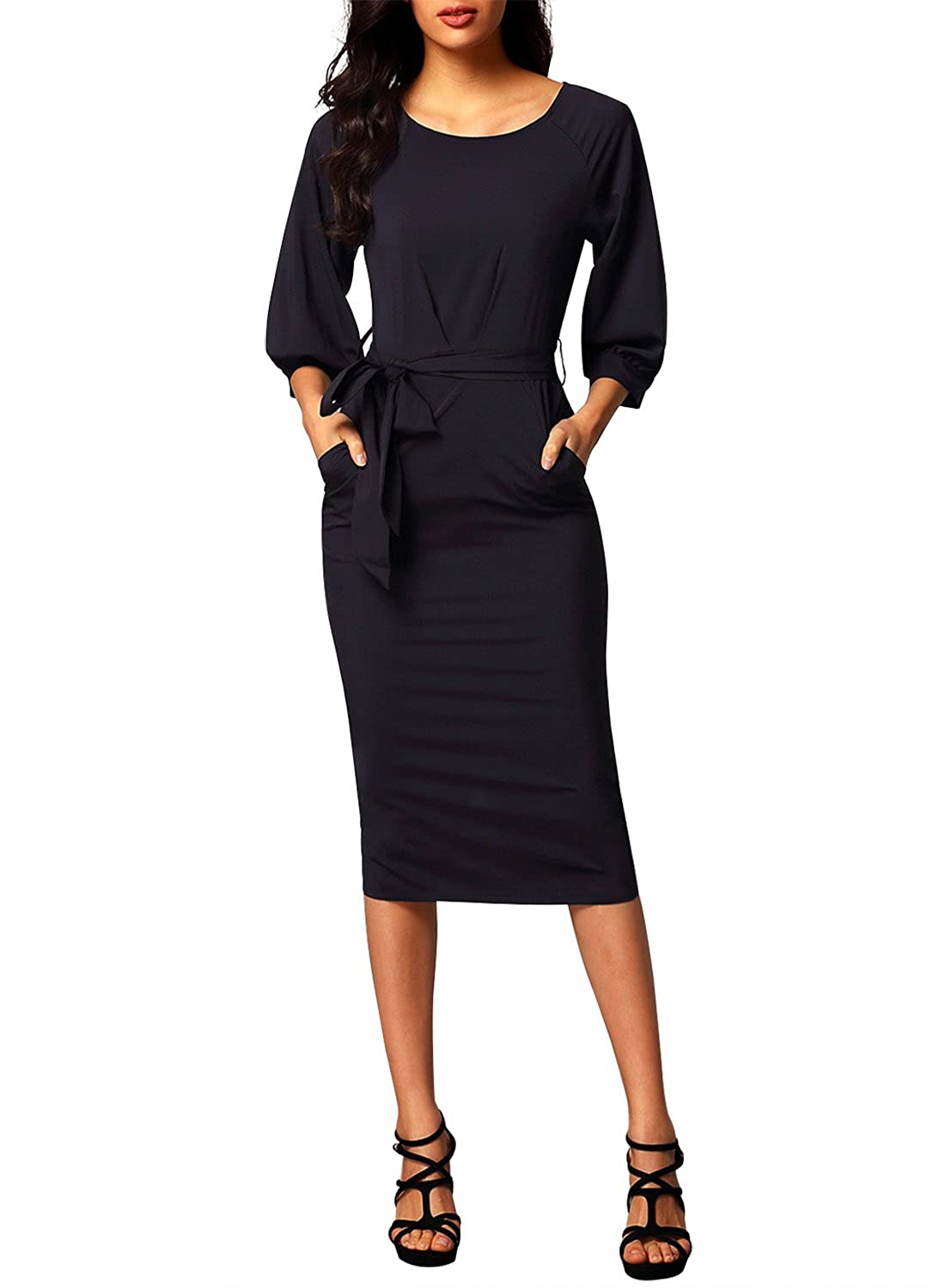 Dearlovers Women Long Sleeve Wear to Work Pencil Dress with Belt at Amazon  Women s Clothing store  99c51d379