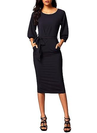 Dearlovers Women Long Sleeve Wear to Work Pencil Dress with Belt at ... ee940d291922