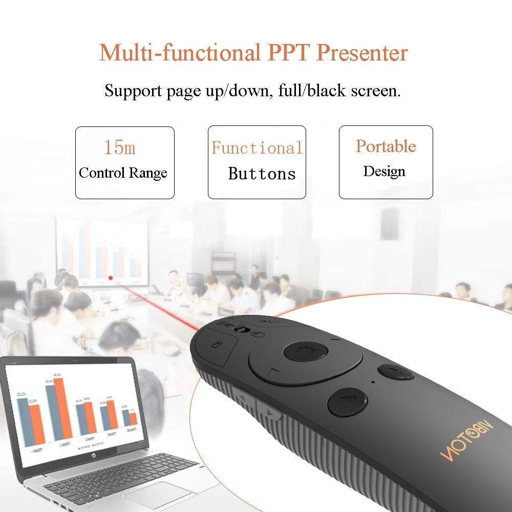 Calvas Top RRKK Calvas Vmp07 2.4Ghz Presentation Remote Powerpoint Wireless Clicker Presenter Multimedia Handheld Controller Vibration - (Color: Black)