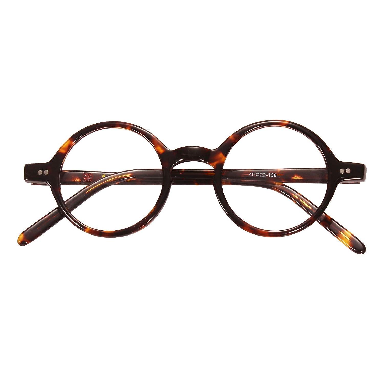 80e83981c81a0 Amazon.com  Agstum Handmade Small Round Optical Tortoise Shell Eyeglasses  Frame 40mm  Clothing