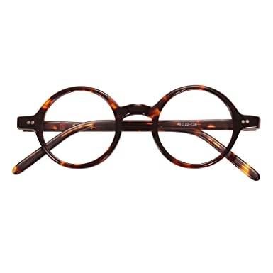 d60f5a0238 Amazon.com  Agstum Handmade Small Round Optical Tortoise Shell Eyeglasses  Frame 40mm  Clothing