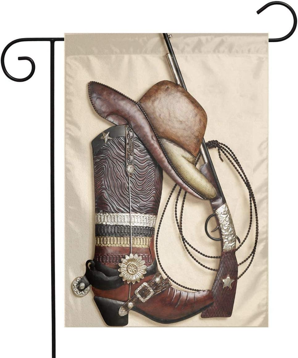 Pooizsdzzz Cowboy Boots Hat Gun Festival Garden Flag Front Door Flag Decorative Home Outdoor Flag 1218 Inch