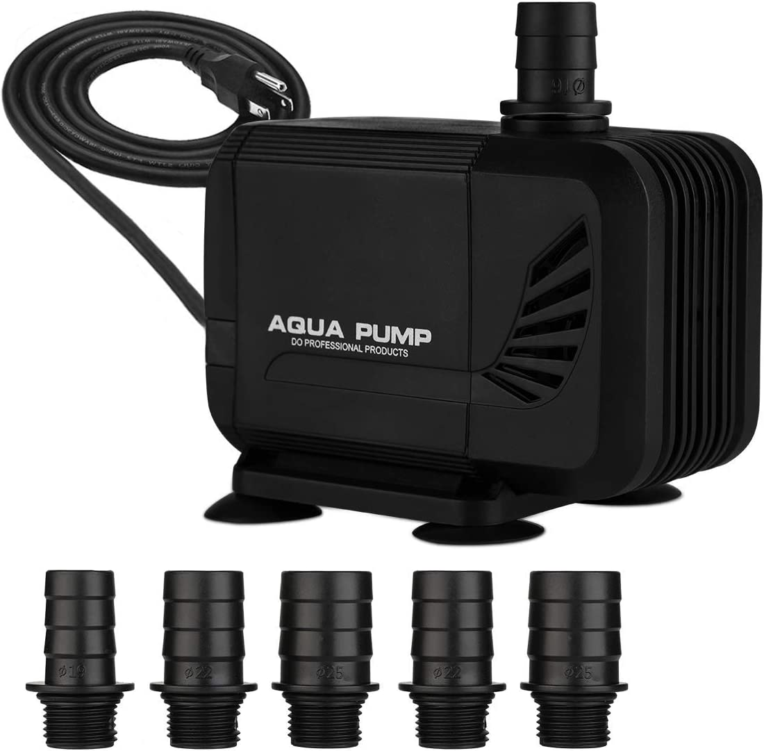 KEDSUM 550GPH Inline/Submersible Water Pump(2100L/H, 35W), Ultra Quiet Water Pump with 6.5ft High Lift, Fountain Pump with 6.5ft Power Cord, 6 Nozzles for Fish Tank, Pond, Aquarium, Hydroponics