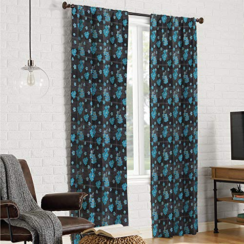 Mozenou Room Darkening Noise Reducing Curtains for bedroo Flower,Forget Me Not Blossoms on a Dark Background with Grid Pattern Botany,Charcoal Grey Blue Yellow W96 x L84 Inch (Mario Don T Forget To Wash Your)