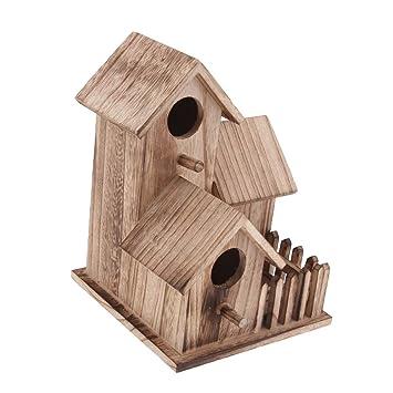 Homyl Nichoirs Oiseaux Maison En Bois Rustique Decor Jardin Cabane A