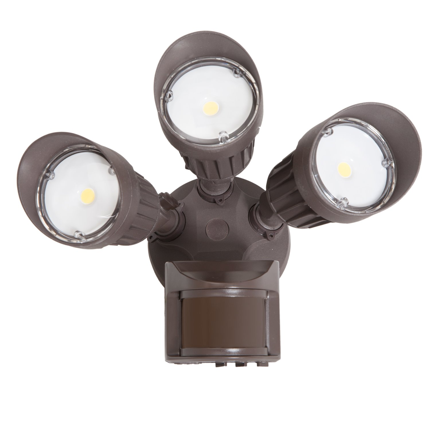 Maxxima 3 Head Outdoor LED Security Light, 30W, 2700 Lumens, Motion Sensor, Photocell Sensor, Brown, 5000K