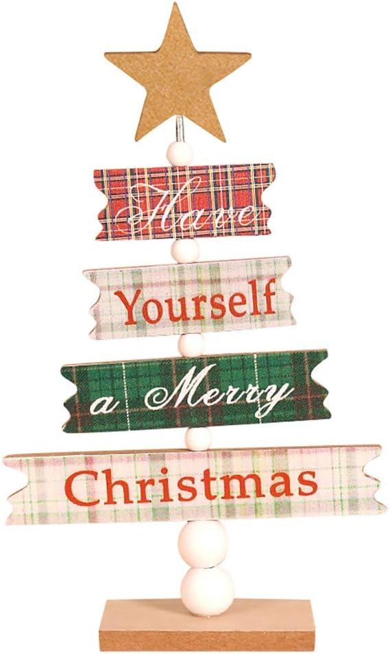 Amazon.com: Jchen (TM) Adorno de árbol de Navidad de madera ...