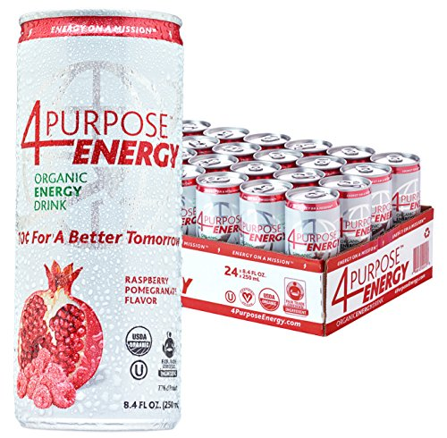 Organic Energy Drink by 4 Purpose Energy - Raspberry Pomegranate Flavor Crafted With Your Health In Mind (Raspberry Pomegranate, 24 Pack)