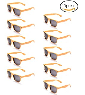 ONNEA 10 Paires Pack de Lunettes de Soleil Fetes Couleur pour Adulte Enfant  (Jaune 10 0cda7abdaada