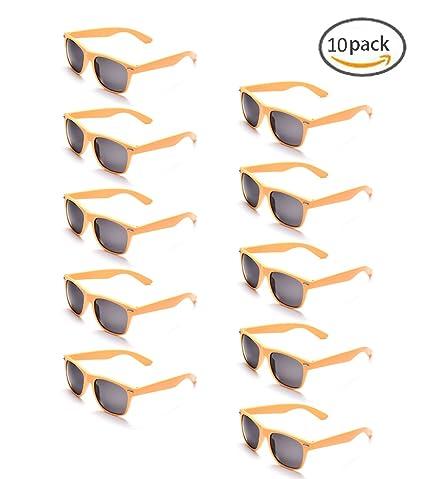 ONNEA 10 Piezas Gafas de Sol Fiesta Colores Paquete Años 80 (Amarillos 10-Pack)