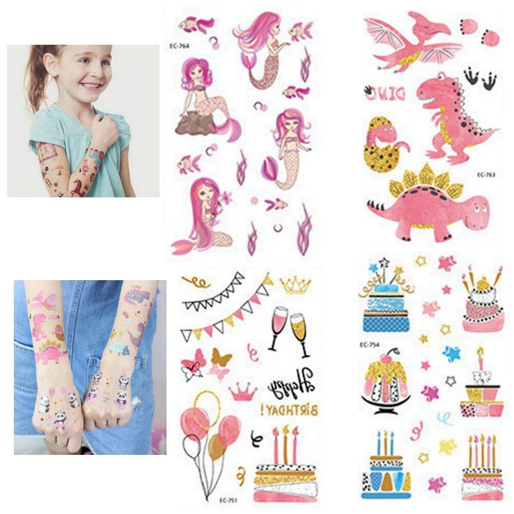 Kids Birthday Party Girls Party Favors-16Patterns YALEX 120PCS Temporary Tattoos for Girls Party Supplies