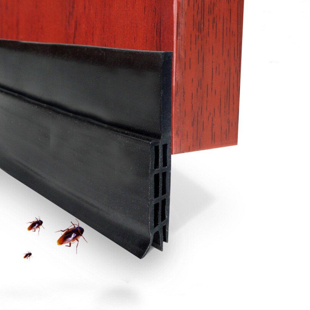 Door Draft Stopper,Sandistore High Performance Silicone Under Door Sweep Adhesive 3M Strip   Draft Blocker for Under Door Seal Gap Interior & Exterior Doors Weather Stripping Soundproof (Black)