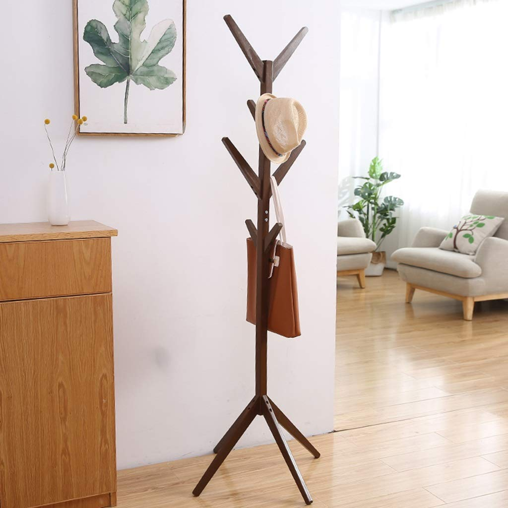 Dark brown Standing Coat Racks Coat Stand Clothes Rack Hooks for Umbrella Hat Storage Tree-Shaped Rack Hooks for Umbrella Hat Hanging Bedroom Hallway Free Standing -0223 (color   Wood color)