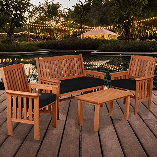 (Oliver Smith - 4 Person Bench 2 Chairs and Table - Solid Wood - Cloth Seats - 4 Piece Set 4112)