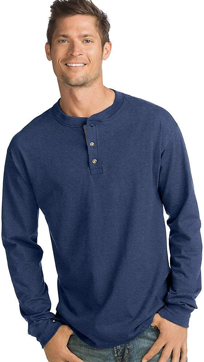 Hanes Mens Beefy-T Long-Sleeve Henley
