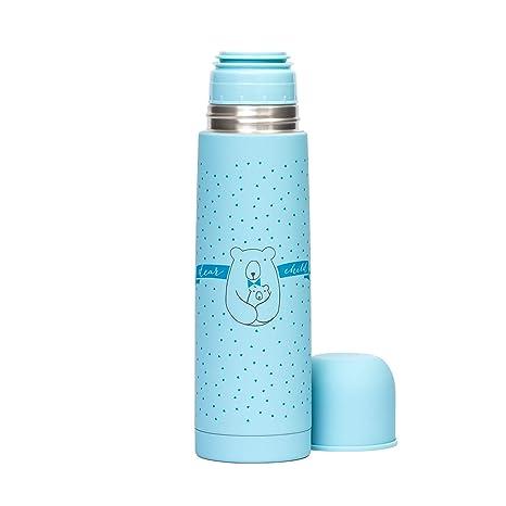Suavinex - Termo Líquidos Para Bebé. Acero Inoxidable. Cierre Hermético. Bebidas Calientes y Frías, 500ML Color Azul