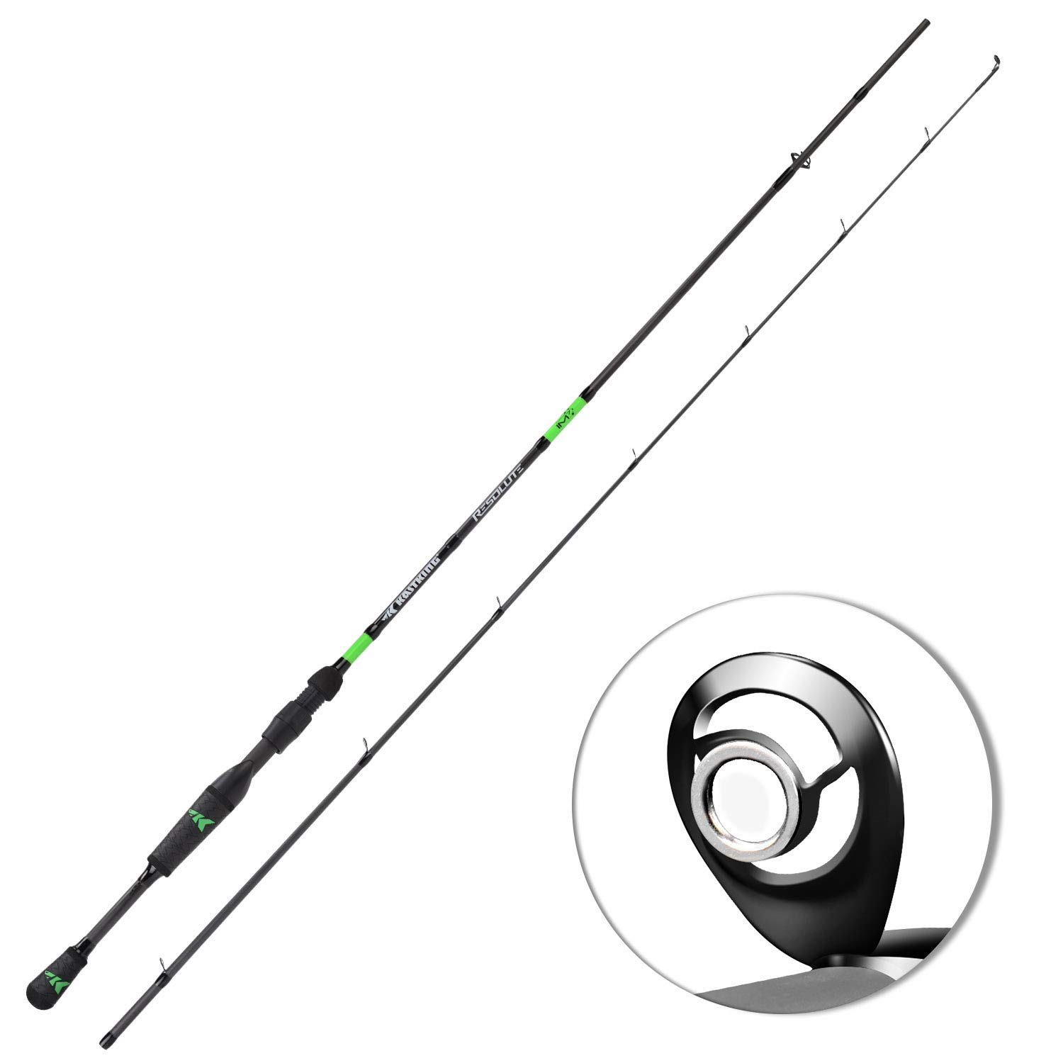 KastKing Resolute Fishing Rods, Spinning Rods Casting Rods, Ultra-Sensitive IM7 Carbon Fishing Rod Blanks, American Tackle Guides, American Tackle 2pc Bravo Reel Seat, 2pc Designs