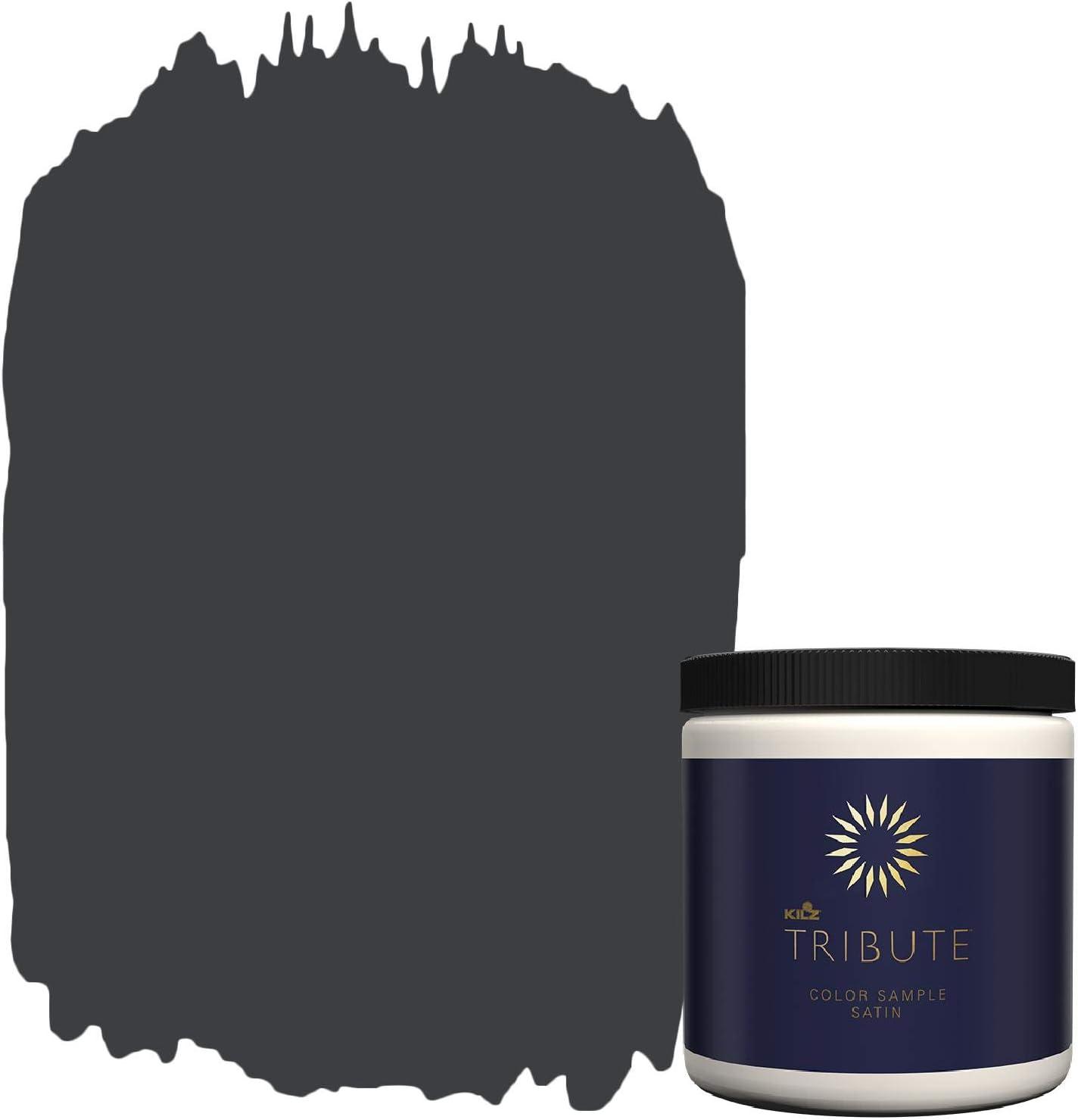 KILZ TRIBUTE Interior Satin Paint & Primer In One, 8-Ounce Sample, Deep Onyx (TB-40)