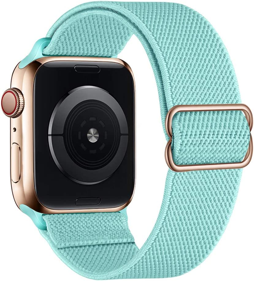 SIRUIBO Stretchy Nylon Solo Loop Bands Compatible with Apple Watch 38mm 40mm, Adjust Stretch Braided Sport Elastic Women Men Strap Compatible with iWatch Series 6/5/4/3/2/1 SE, Turquoise Green