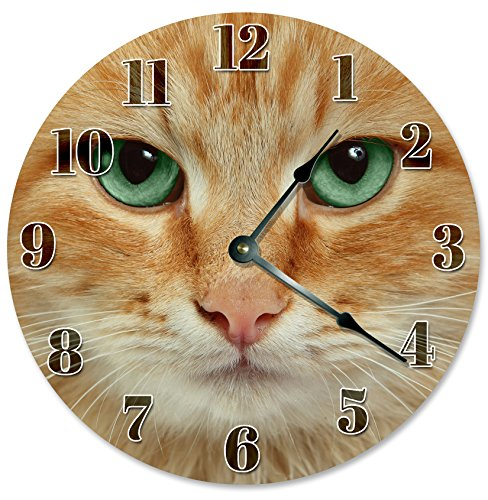 ORANGE CAT FACE clock Decorative Round Wall Clock Home Decor Wall Clock Large 10.5