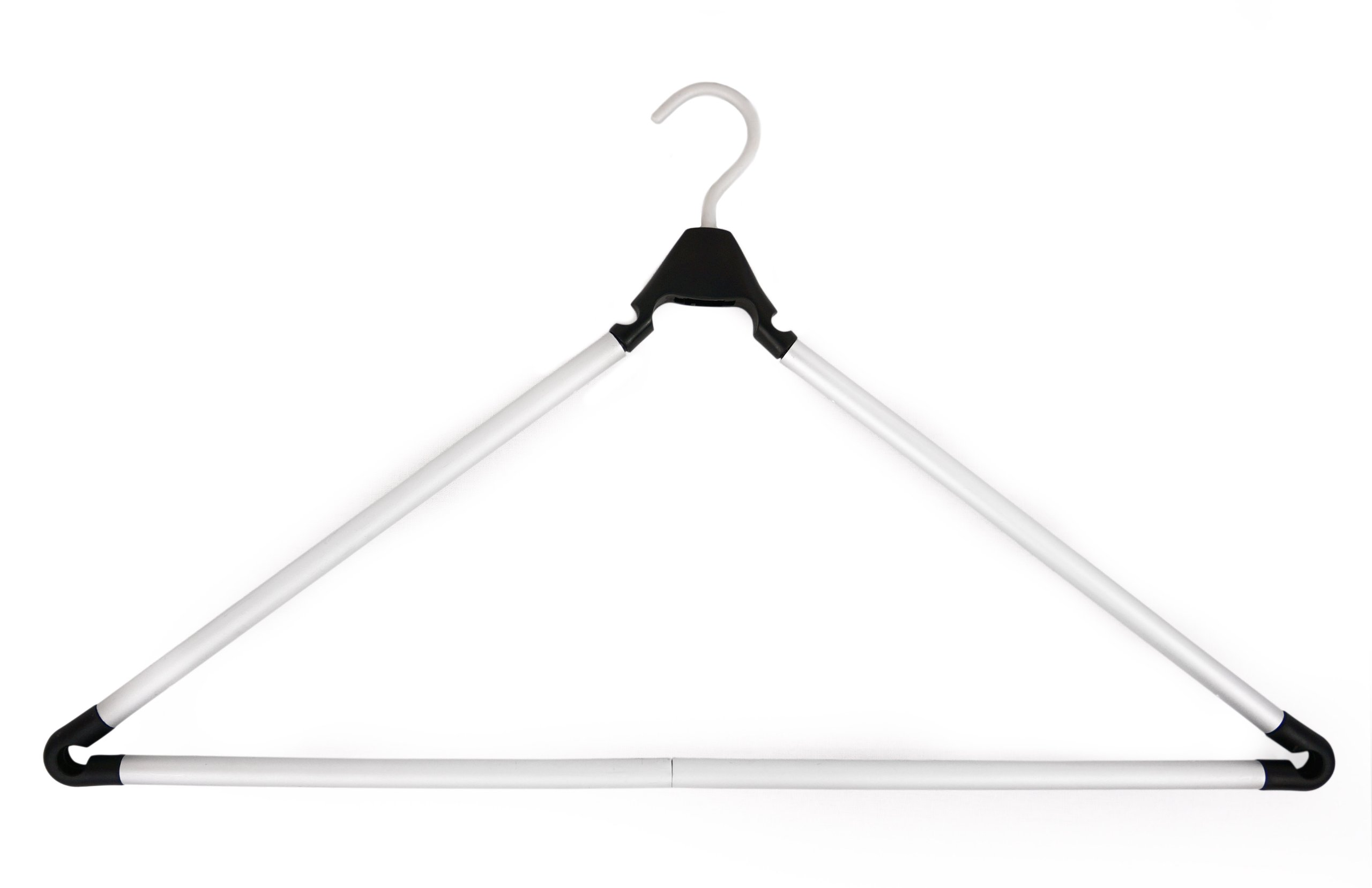Travel Hanger, Car Hanger, Clothes Hanger- Foldable Hanger, Folding Hanger, Collapsible Hanger, Portable Hanger (Matte Silver & Black) (2)