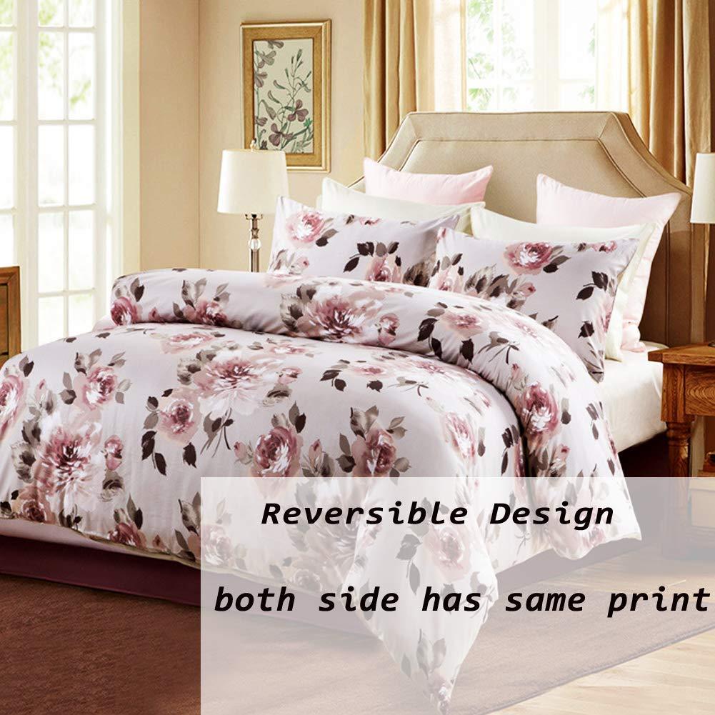 SexyTown Shabby Duvet Cover Set Farmhouse Bedding Design Elegant Peony Flower Print Duvet Quilt Cover Hotel Quality Soft Comfortable Easy Care Durable Queen Pattern D 180726-EG-Pattern D-queen