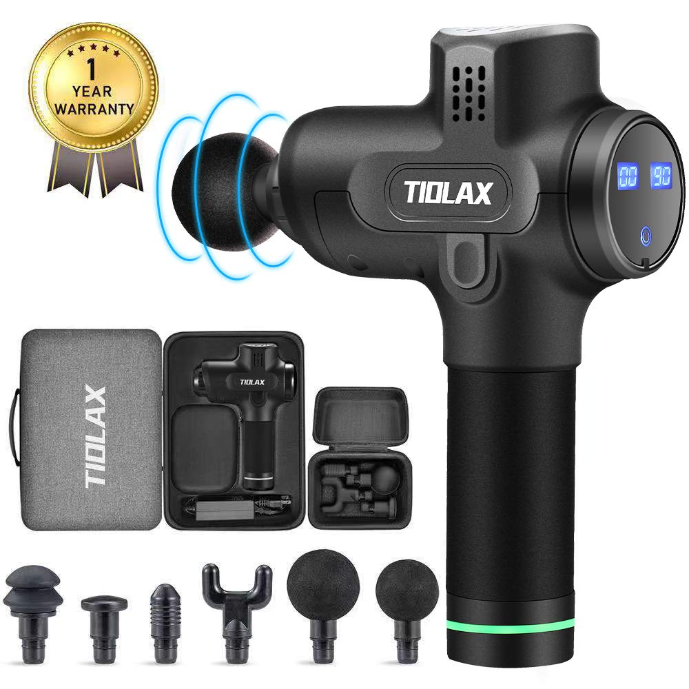 TIOLAX Muscle Massage Gun, Deep Tissue Percussion Fascia Gun Massager Gun for Athletes, Quiet Professional Brushless Motor Therapy Gun for Sport Pain Relief