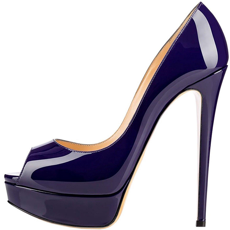 elashe Zapatos Para Mujer - Tacón de Aguja -15CM Peep Toe - 3CM Plataforma Tacones Mujer Fiestas Oficina 39 EU Armada