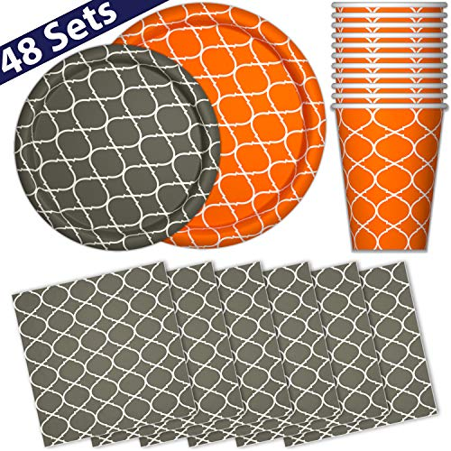 Paper Dinnerware Set for 48 - Orange Pumpkin & Gray - Dinner Plates, Dessert Plates, Cups, Napkins - Heavy Duty Disposable Tableware Dishes for Parties with Lattice Design]()