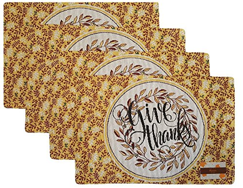 """Thanksgiving """"Give Thanks"""" Tapestry Placemats with Olive ..."""