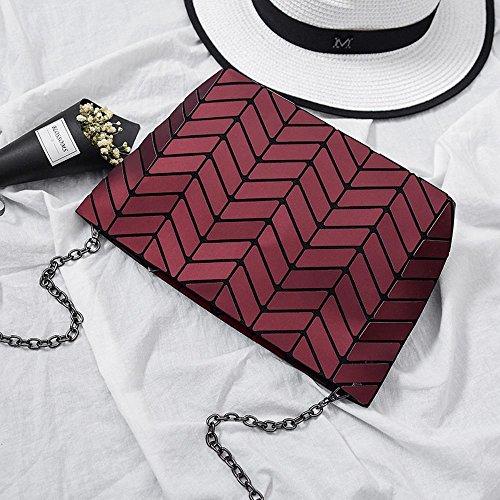 Aoligei 5 * 8 Matt Girl petit sac à bandoulière ondulés style japonais losange à géométrie variable sac F