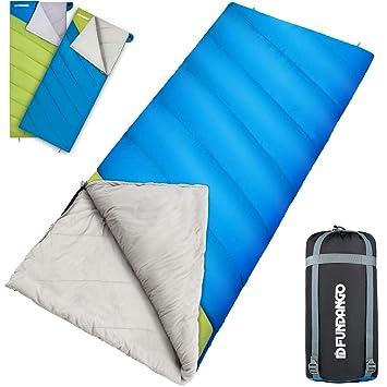 Fundango Saco de Dormir Extragrande y portátil para Camping con Clima frío, Senderismo, mochilero con Bolsa de compresión: Amazon.es: Deportes y aire libre