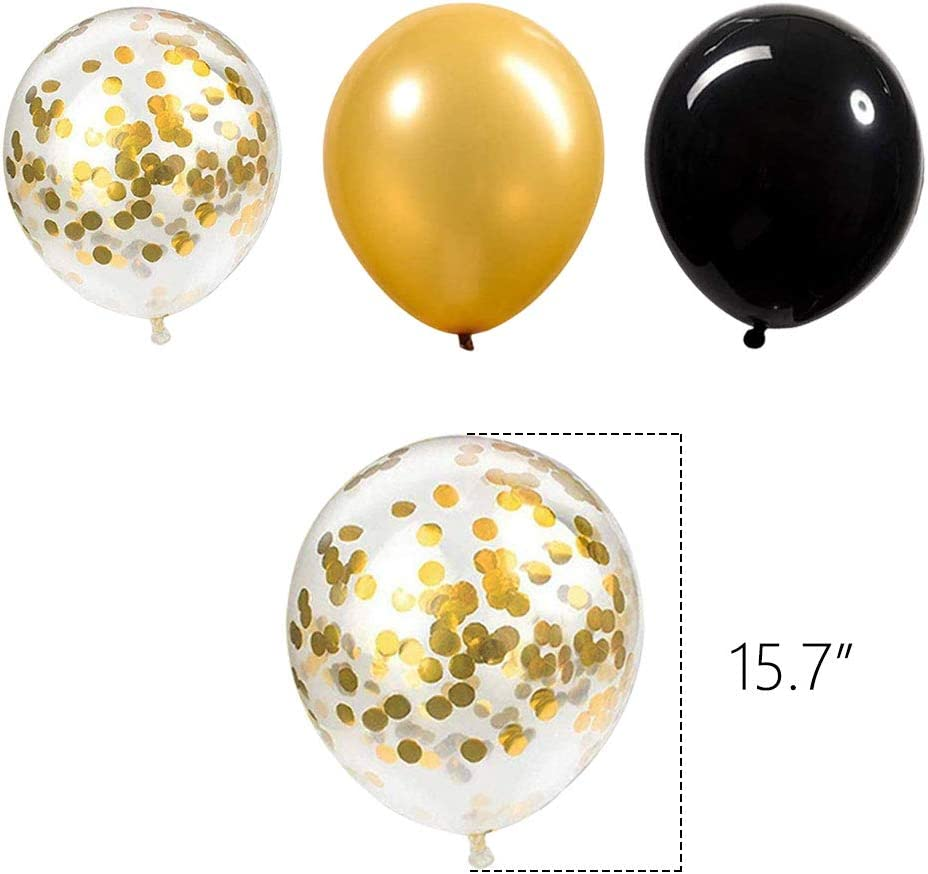 Paper Pom Poms with Gold Foil Curtain for Graduations Party Supplies Home Decorations New Years Eve Decorations New Years Eve Party Supplies 2020 Decorations Kit Gold White and Black Balloons Sets