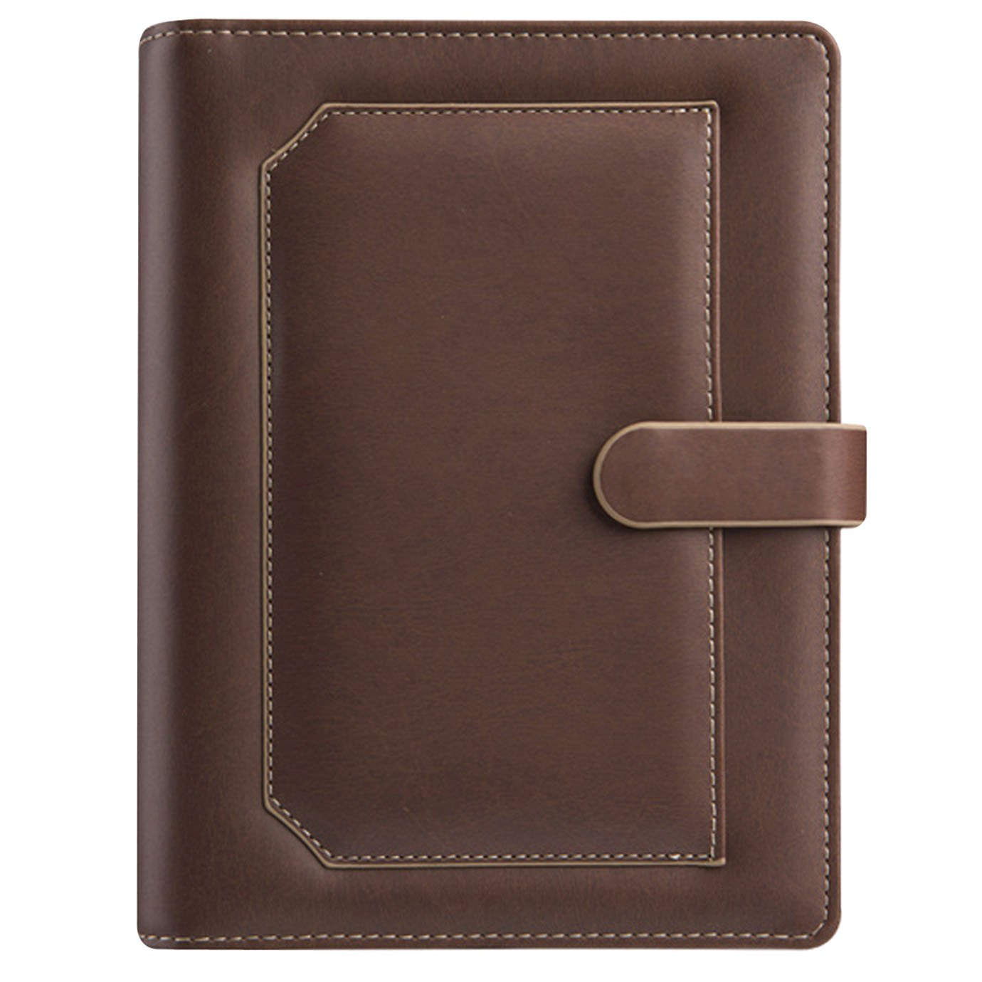 Office Home School Faux Leather Cover A5 Notebook Journal Notepad Folder Paper File For Travelers Business Sketching And Writing(Brown)